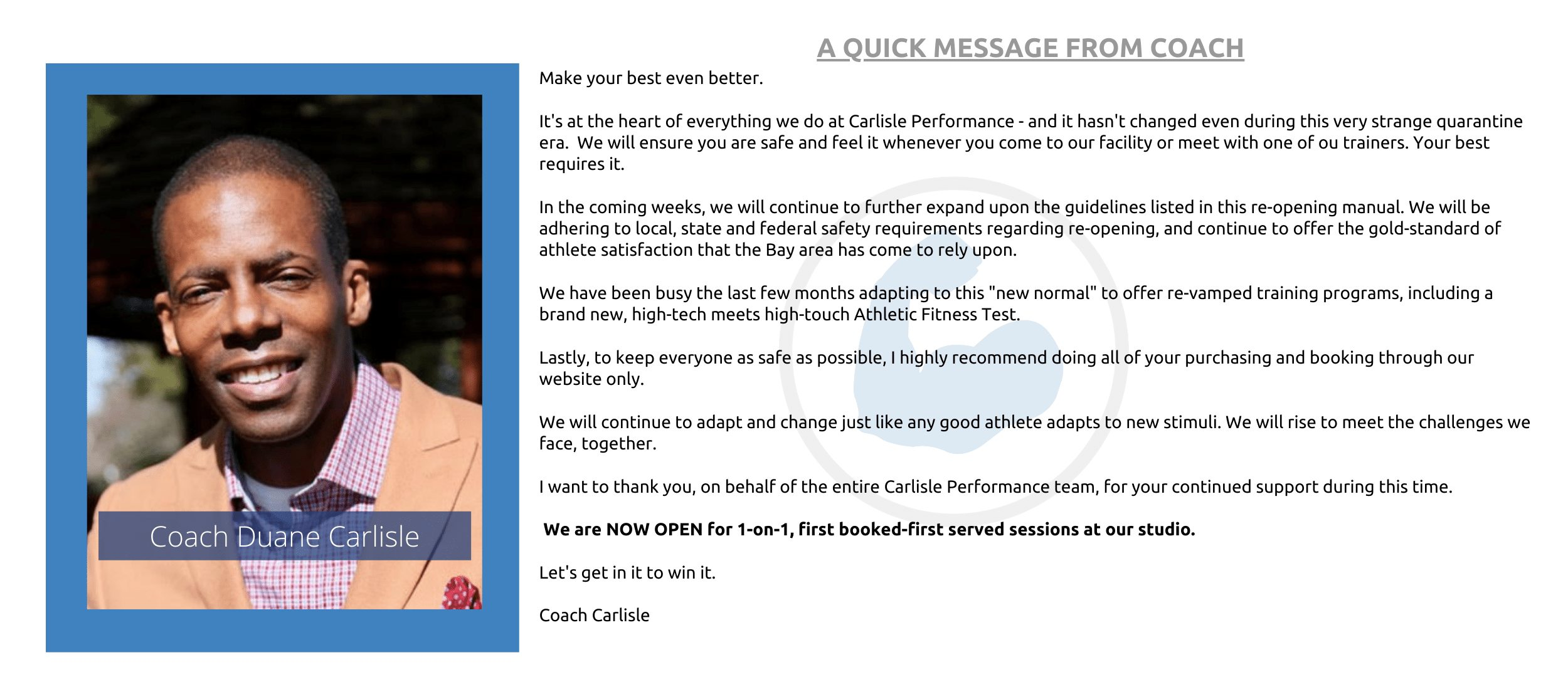 covid-19 fitness bay area opening manual carlisle performance message